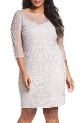 Pisarro Nights Plus Size Women's Embellished Illusion Yoke And Sleeve Sheath Dress