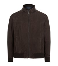 Paul And Shark Suede Bomber Jacket Male Chocolate