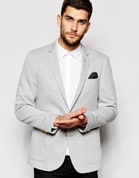 Asos Skinny Blazer In Jersey With Gold Buttons Grey