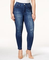 Melissa Mccarthy Seven7 Plus Size Ripped White Wash Pencil Jeans Medium Blue