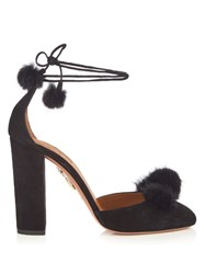 Aquazzura Wild Russian Fur And Suede Pumps Black