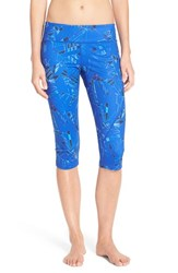 Zella Women's 'Live In 2' Slim Fit Capris Blue Ultra Astral Print
