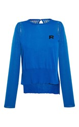 Rochas Long Sleeve Cotton Knit Top Blue
