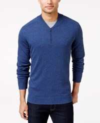 Alfani Men's Regular Fit Baseball Collar Sweater Only At Macy's Indigo Heather