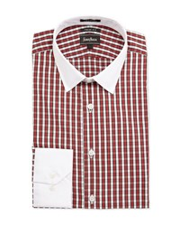 Neiman Marcus Trim Fit Plaid Dress Shirt Red White