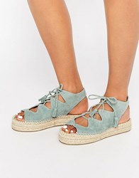 Faith Jagged Teal Ghillie Lace Up Espadrille Flatform Sandals Teal Green