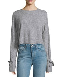 Helmut Lang Melange Tie Cuff Wool Blend Sweater Heather Gray