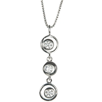 Jools By Jenny Brown Cubic Zirconia 3 Circles Pendant Necklace Silver
