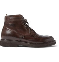 Officine Creative Stanford Distressed Leather Boots Chocolate