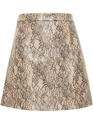 Christopher Kane Lace Print Leather Mini Skirt Pink And Purple
