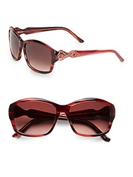 Judith Leiber 58Mm Embellished Square Sunglasses Ruby