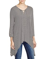 Kim And Cami Lace Up Striped Tunic Off White Black