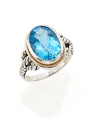 Effy Blue Topaz Sterling Silver And 18K Yellow Gold Ring Silver Blue