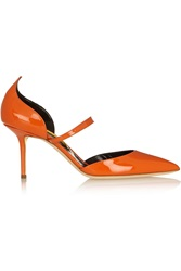Rupert Sanderson Romantica Patent Leather Pumps Orange