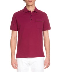 Berluti Short Sleeve Polo Shirt W Leather Trim Prickly Pear