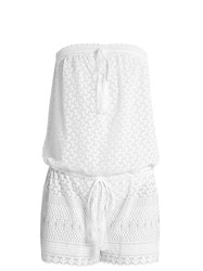 Melissa Odabash Everly Embroidered Georgette Playsuit White