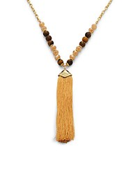 Saks Fifth Avenue Tiger Eye And Quartz Tassel Trim Pendant Necklace 33In Gold Brown