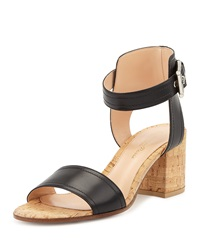 Gianvito Rossi Leather Cork Block Heel Sandal Black