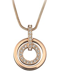 Swarovski Rose Gold Plated Circle Pendant Necklace Silver
