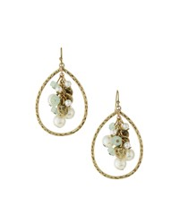 Lydell Nyc Golden Pear Bead Dangle Earrings Green