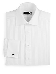 Saks Fifth Avenue Classic Fit Pleated Tuxedo Shirt White