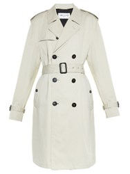 Saint Laurent Boyfriend Fit Gabardine Trench Coat White
