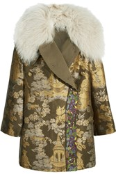 Etro Reversible Embroidered Shearling Trimmed Brocade Jacket Gold