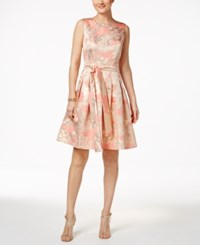 Tommy Hilfiger Metallic Print Fit And Flare Dress Pink Gold