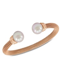 Majorica Bracelet Organic Man Made Pearl And Rose Gold Tone Stainless Steel Bangle Bracelet