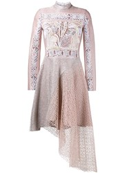 Peter Pilotto Embroidered Asymmetric Dress Pink And Purple
