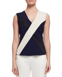 Lanvin Sleeveless Crisscross Blouse Navy