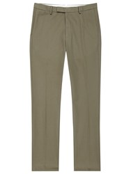 Reiss Ciaro Cotton Twill Trousers Khaki
