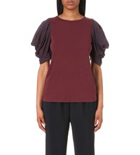 Clu Ruched Sleeve Cotton Jersey And Silk Top Bordeux