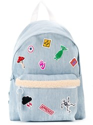 Joshua Sanders Patch Detail Denim Backpack Blue