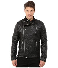 Members Only Faux Leather Quilted Motocross Jacket Black Men's Coat