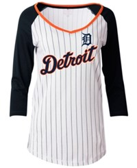 5Th And Ocean Women's Detroit Tigers Pinstripe Glitter Raglan T Shirt White