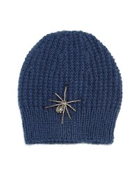 Jennifer Behr Crystal Spider Knit Beanie Hat Navy