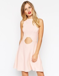 Asos Skater Dress In Structured Knit With Cut Outs Pink