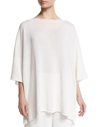 Eskandar 3 4 Sleeve Sequined Knit Tunic White