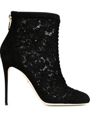 Dolce And Gabbana Floral Lace Boots Black