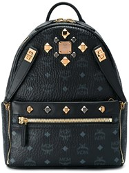 Mcm Logo Print Studded Backpack Black