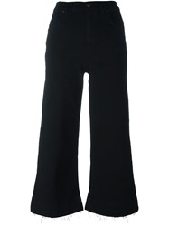 7 For All Mankind Wide Leg Cropped Jeans Black
