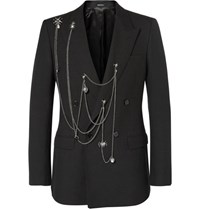 Alexander Mcqueen Black Slim Fit Embellished Wool Blazer Black