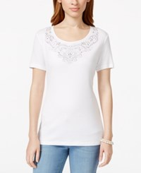 Karen Scott Short Sleeve Embellished Top Only At Macy's Bright White