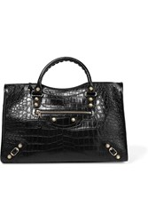 Balenciaga Giant 12 City Croc Effect Leather Tote Black