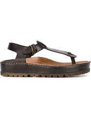 Silvano Sassetti T Bar Sandals Brown