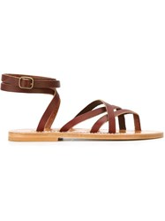 K. Jacques 'Zenobi' Tie Back Strappy Sandals Pink And Purple