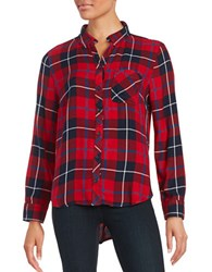 Beach Lunch Lounge Plaid Blouse Red Sable