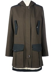 Giamba Flap Pockets Hooded Coat Green