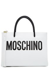 Moschino Leather Tote With Logo White